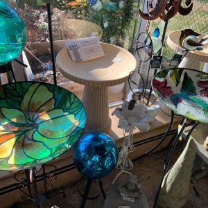 pretty bird baths and garden art