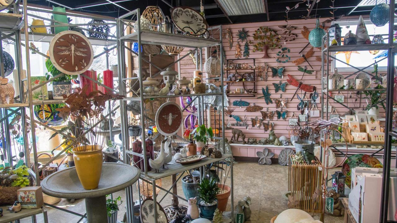assortment of garden decor and accessories