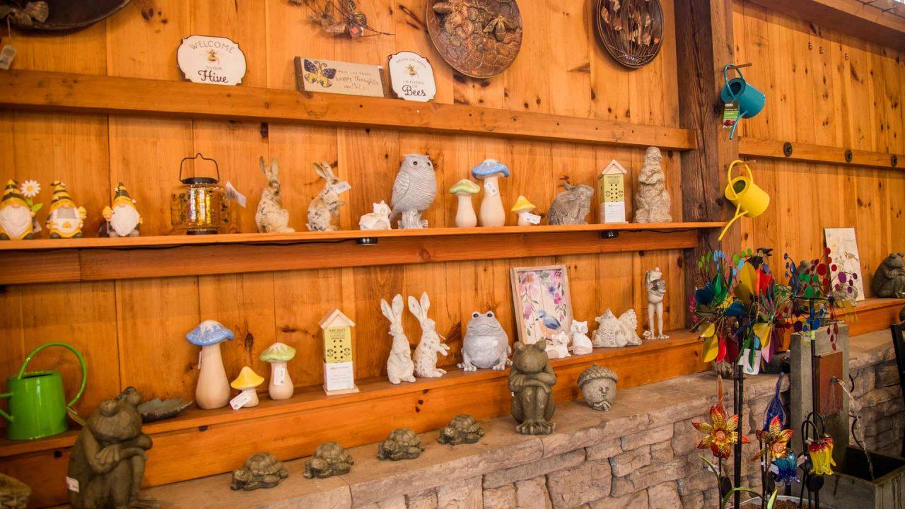 various garden statues and art