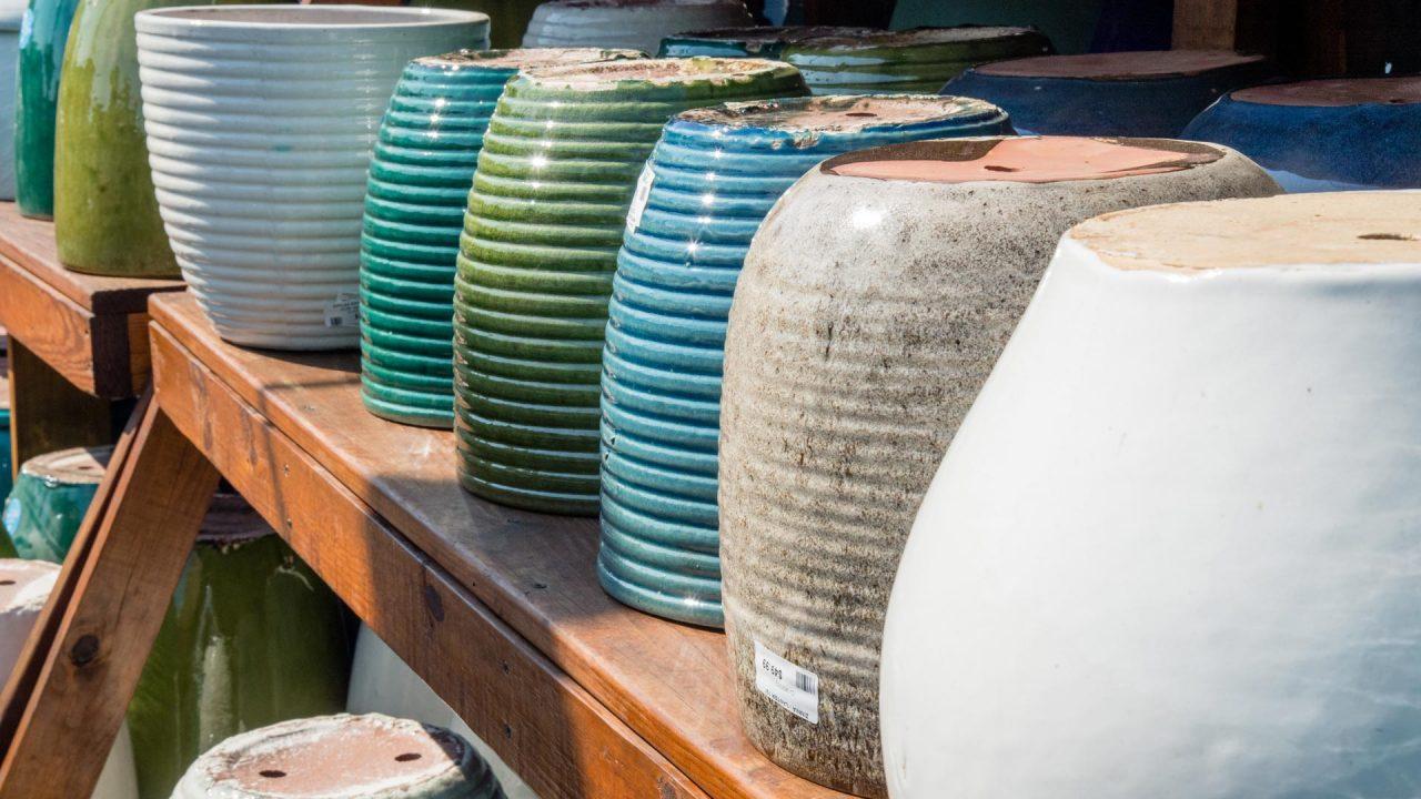 colorful array of glazed pots
