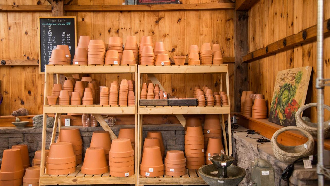 large display of different size terracotta pots